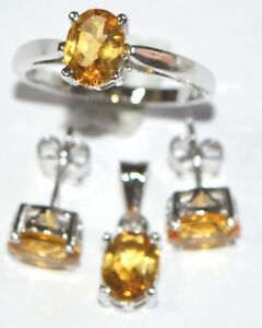 925 Sterling Silver Jewelry Set Stone Citrine Style Party Wedding For Women US 7
