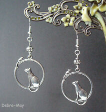 Cute Cat and Mouse Dangly Silver Plated Earrings