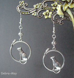 Cute Cat and Mouse Dangly Silver Plated Earrings in Gift Bag