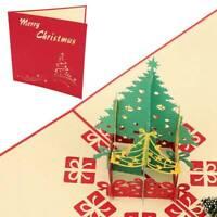 3D Stereoscopic Birthday Holidays Tree Christmas Handmade Greeting Card Vogue