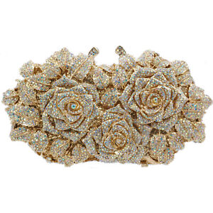 Evening luxury crystal Bridal clutch purse bag roses Floral Rose Gold silver USA