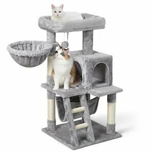"""Cat Tree 39"""" Cat Tower for Indoor Cats, Multi-Level Cat House Condo Large Perch"""