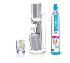 SODASTREAM Wassersprudler Crystal+CO2-Zylinder + 1x 0,6L Glaskaraffe--NEU-weiß