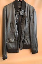#167 Urban Behavior Black Leather Bomber Jacket Size L