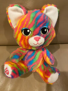 "Build a Bear Buddies Smallfrys Neon Rainbow Stripe Kitty Cat 8"" Plush"
