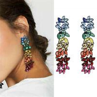 Popular Women Colorful Rhinestone Statement Geometric Long Pendant Drop Earrings