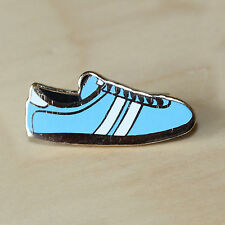 SKY BLUE & WHITE ENAMEL TRAINER STYLE BADGE - FOOTBALL / RUGBY - CITY COLOURS