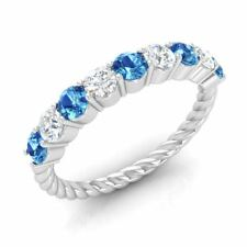 0.90 Ct Natural Blue Topaz & SI Diamond Twisted Wedding Band Ring 14k White Gold