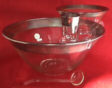 Dorothy Thorpe Mid Century Sterling Silver Banded Chip and Dip Crystal Bowls Tag