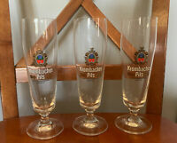 German Krombacher Pilsner Alba Flute Glass Set of 3 - Excellent Shape