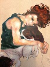 EGON SCHIELE  HANDMADE ACRYLIC PAINTING ON CARDBOARD,SIGNED,W/GALLERY STAMPS