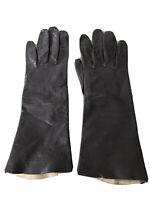 Vintage Macy Associates Washable Leather Black Leather Driving Gloves Size 7
