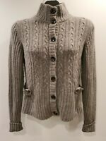 BANANA REPUBLIC Women Large Gray Wool Cashmere Blend Cardigan Sweater Cable Knit
