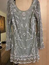 Miss Selfridge Sequin Beaded Green Art Deco Dress Size 10