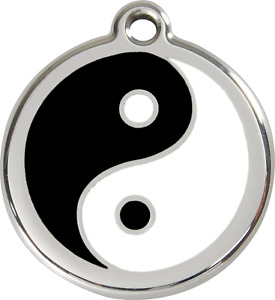 Stainless Steel Red Dingo Yin Yang Dog ID Collar Charm Tag Small Medium Large