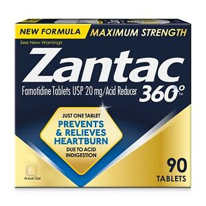 ZANTAC 360 Degree MAXIMUM STRENGTH ACID REDUCER 20 MG, 90 Tablets EXP 11/22