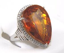Fine Huge Pear Citrine & Diamond Cocktail Solitaire Ring 14k White Gold 44.59Ct