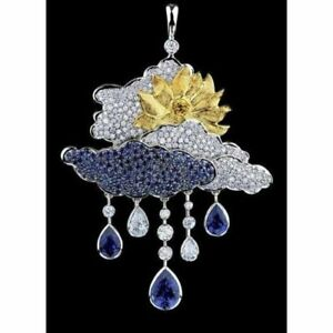 Cloud Rain Drop Pendant Solid Sterling Silver 925 Blue White Sun Nature Inspired