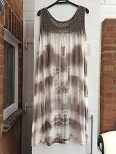 LADIES SUN DRESS TOP TIE DYE MOCHA WHITE FIT SIZE 20 22 24 BNWT OPEN CROCHET
