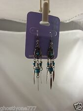 Claires sensitive solutions silver tone long dangle turquoise style earrings