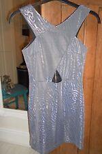 Topshop Blue Black Snake Skin Cut Out Short Dress Zip Metallic High Neck UK 6