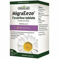 Natures Aid MigraEeze 100mg 60 Tablets Feverfew tablets for Migraine Headaches