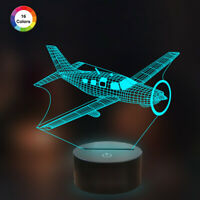 3D LED Night Light,16 Colors 3D Lamp Airplane Nightlight for Boys Pilot Gifts