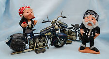 "Usa-Made Hand-Sculpted 5"" Tall Biker Lady/Man Doll Set by Debbie McIntyre"
