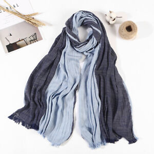 80*190CM Striped Cotton and Linen Scarf Shawl Striped Pleated Scarf Unisex Scarf