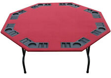 "XL 60"" Burgundy Felt Folding Octagon Poker Table For Texas Holdem, Cards & Game"