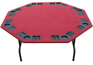 "XL 60"" Burgundy Felt Octagon Poker Table, Folding Steel Legs 4 Holdem Card Games"