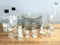 19pc Corning Pyrex Laboratory Glass Bundle Round Bottom Flask Jar Bottles
