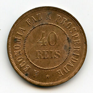 1901 BRAZIL 40 REIS NICE MINT LUSTER RED UNCIRCULATED.