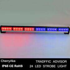 24 LED Red Blue Emergency Beacon Warning Traffic Advisor Strobe Light Bar 12V