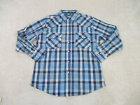 Wrangler Shirt Adult Large Blue Brown Pearl Snap Western Rodeo Cowboy Mens