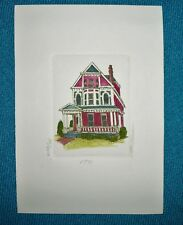 Martha Hinson Victorian House 1771 Signed Numbered Matted Colored Etching
