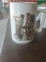"Vintage 1985 Norman Rockwell Museum Tankard/Mug ""River Pilot"" with Gold Trim"