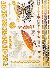 Temporary Tattoo, Einmal Tattoo, Gold Tattoo / WX-109WT, Federn & Schmetterling