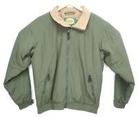 CABELA'S Mens Green Nylon Fleece-Lined Full Zip Jacket Coat Size Medium vtg