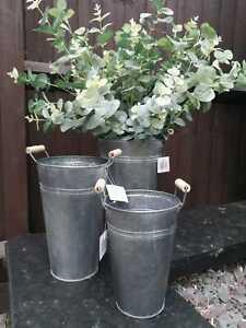 Distressed Dark Grey Metal Flower Bucket  30cm high