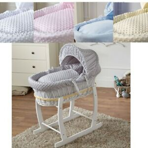 Luxury Baby Wicker Moses Basket Full Set With Rocking Stand And Deluxe Mattress