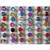 CH Wholesale jewelry mixed lots 10pcs crystal zircon silver plated rings