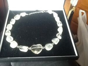 stunning vintage Rock crystal necklace central Heart shaped stone