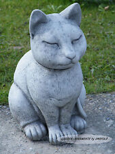 SMOOTH CAT Hand Cast Stone Garden Ornament Statue Sculpture Memorial ⧫onefold-uk