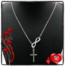 Alloy Choker Cross Pendant Necklace Stylish Infinity Shaped Silver Tone