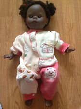 "Zapf Creations Girl African American Open Shut Eyes Vinyl Cloth 23"" Rare"