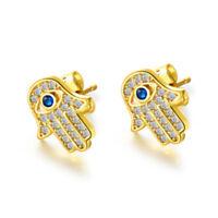 Fatima Damen Ohrstecker Weiß / Gold Farbe Ohrringe Zirkonia Palm Design Schmuck