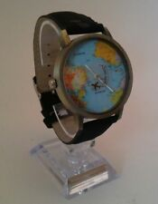 World Map Faced Airplane 2nd Hand Watch With Black Strap-40mm Case (Freepost)