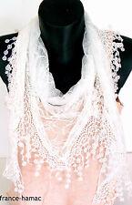 ÉCHARPE en dentelle façon Keffieh unie blanche accessoire de mode femme