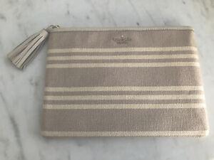 Authentic Kate Spade Gia Larchmont Avenue Fabric Stripe Canvas Pouch Clutch NWT